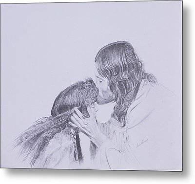 Kissed By Redemption From The Life Of Jesus Series Metal Print by Susan Harris