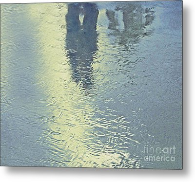 Kissing Couple With Palm Reflection Metal Print by Cindy Lee Longhini
