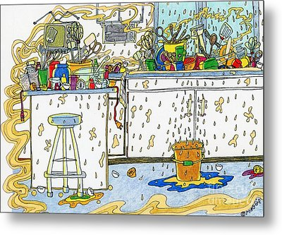 Kitchen Catastrophe Metal Print by Mag Pringle Gire