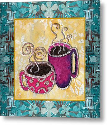 Kitchen Cuisine Hot Cuppa No19 By Romi And Megan Metal Print by Megan Duncanson
