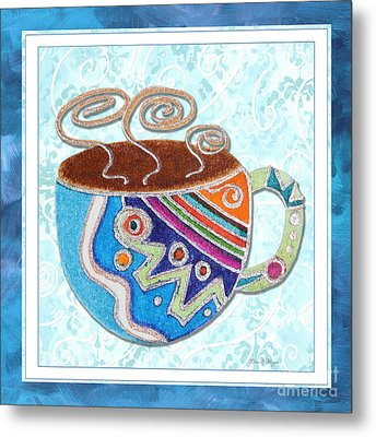 Kitchen Cuisine Hot Cuppa No20 By Romi And Megan Metal Print by Megan Duncanson