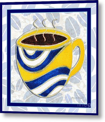 Kitchen Cuisine Hot Cuppa No76 V2 By Romi And Megan Metal Print by Megan Duncanson