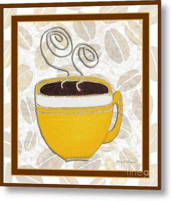 Kitchen Cuisine Hot Cuppa No87 V2 By Romi And Megan Metal Print by Megan Duncanson