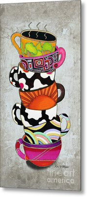 Kitchen Cuisine Stacked Hot Cuppa 1 By Romi And Megan Metal Print by Megan Duncanson