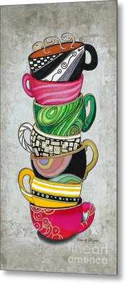 Kitchen Cuisine Stacked Hot Cuppa 2 By Romi And Megan Metal Print by Megan Duncanson