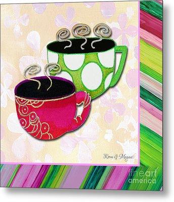 Kitchen Cuisine Tea Party Napkin Design 1 By Romi And Megan Metal Print by Megan Duncanson