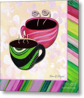 Kitchen Cuisine Tea Party Napkin Design 3 By Romi And Megan Metal Print by Megan Duncanson