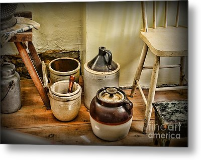 Kitchen Old Stoneware Metal Print by Paul Ward