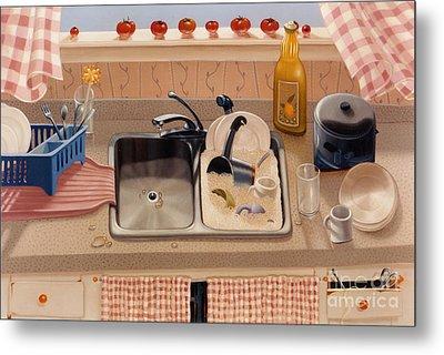 Kitchen Sink Bubba Lees 1997  Skewed Perspective Series 1991 - 2000 Metal Print by Larry Preston