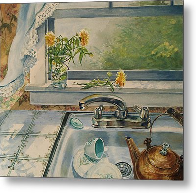 Metal Print featuring the painting Kitchen Sink by Joy Nichols