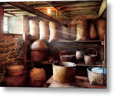 Kitchen - Storage - The Grain Cellar  Metal Print by Mike Savad