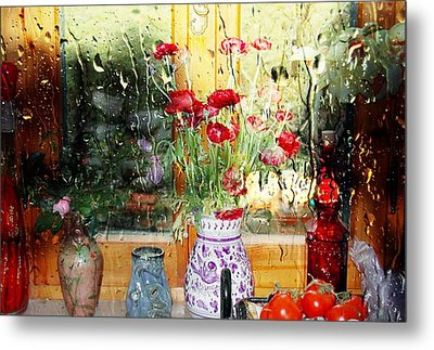 Kitchen Window Reverse Perspective Metal Print