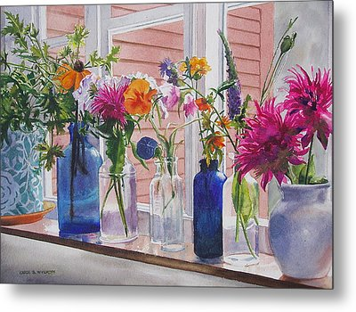 Metal Print featuring the painting Kitchen Window Sill by Karol Wyckoff