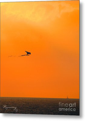 Kite-flying At Sunset Metal Print