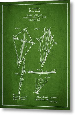 Kite Patent From 1892 - Green Metal Print by Aged Pixel