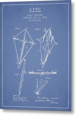 Kite Patent From 1892 - Light Blue Metal Print by Aged Pixel