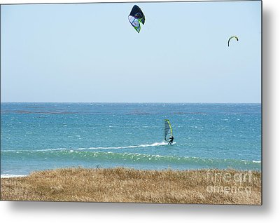 Kite Surfing And Wind Surfing Central Coast San Simeon California Metal Print by Artist and Photographer Laura Wrede