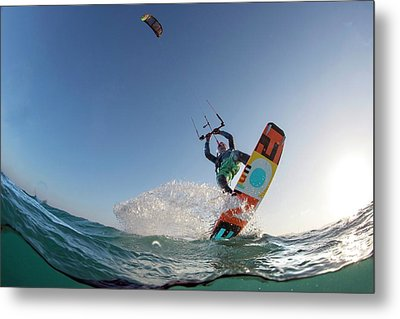 Kite Surfing Metal Print by Louise Murray