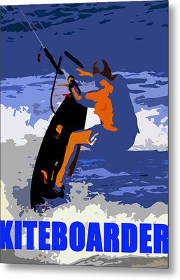Kiteboarder Blue Smartphone  Metal Print