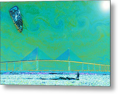 Kiteboarding The Bay Metal Print by David Lee Thompson