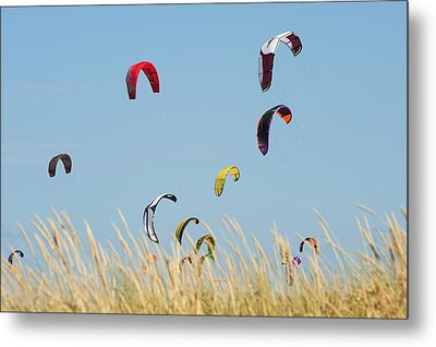 Kites Of Kite Surfers In Front Of Hotel Metal Print