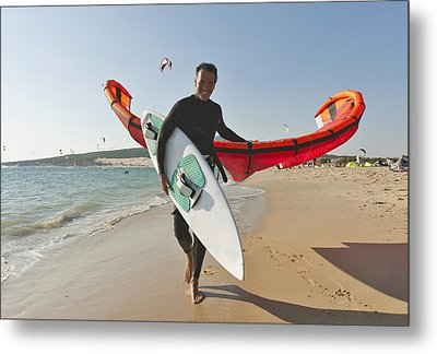 Kitesurfer On The Beach Tarifa Cadiz Metal Print