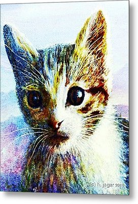 Metal Print featuring the painting Kitten  Close by Hartmut Jager
