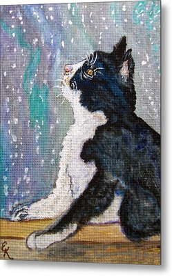 Metal Print featuring the painting Kitten In The Window by Ella Kaye Dickey
