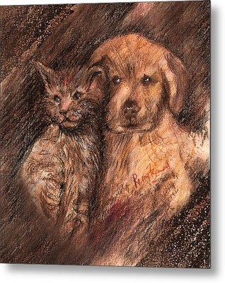 Kitten And Golden Retriever Pup Metal Print