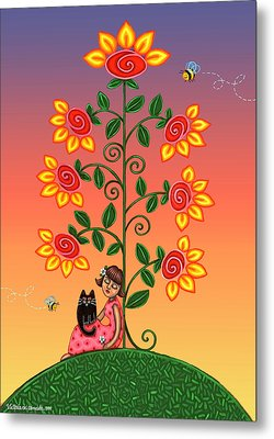 Kitty And Bumblebees Metal Print by Victoria De Almeida