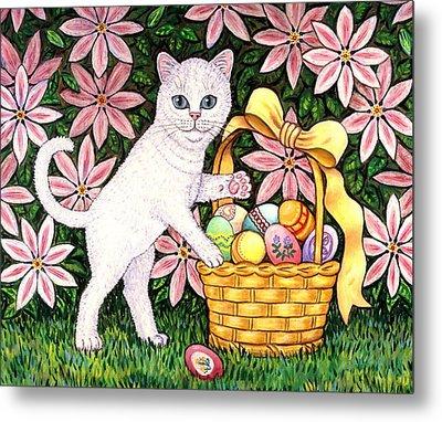 Kitten And Easter Basket Metal Print by Linda Mears