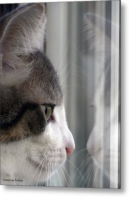 Kitty Cat Reflection Vert Metal Print by Lorrie Bedore