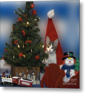 Kitty Says Have A Happy Holiday Metal Print