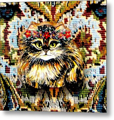 Kitty Wooden Pin Metal Print by Natalie Holland