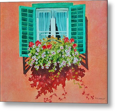 Kitzbuhel Window Metal Print by Mary Ellen Mueller Legault