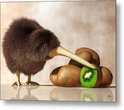 Kiwi Bird And Kiwifruit Metal Print