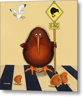 Kiwi Birds Crossing Metal Print