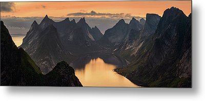 Kjerkfjorden Among Dramatic Mountain Metal Print