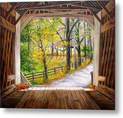 Knecht's Covered Bridge Metal Print by Helen Lee Meyers