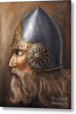 Metal Print featuring the painting Knight by Arturas Slapsys