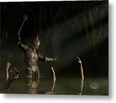 Knight In A Haunted Swamp Metal Print