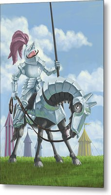 Knight In Shining Armour On Horesback Metal Print by Martin Davey