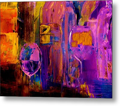 Metal Print featuring the painting Wine Glass Ice Sculpture by Lisa Kaiser