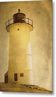 Knobska Point Light Lighthouse Woods Hole Ma Metal Print by Suzanne Powers