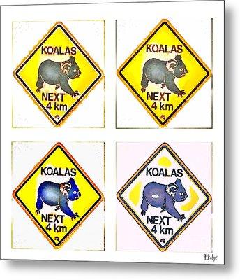 Koalas Road Sign Pop Art Metal Print
