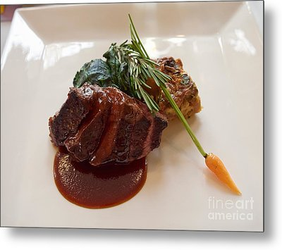 Kobe Beef With Spring Spinach And A Wild Mushroom Bread Pudding Metal Print