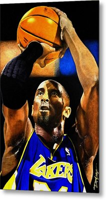 Kobe Bryant Drawing Metal Print by Dan Troyer