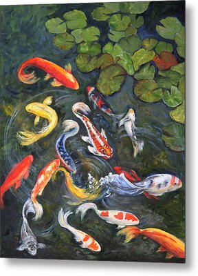 Koi Among The Lily Pads Metal Print by Sandra Nardone