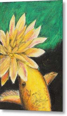 Metal Print featuring the painting Koi And The Lotus Flower by Jeanne Fischer