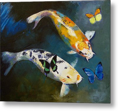 Koi Fish And Butterflies Metal Print